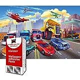 GREAT ART Foto Mural Diseno Infantil de Cars Dibujos Autos Decoracion para Ninos 210 x 140 cm - Papel Pintado 5 Piezas incluye Pasta para pegar