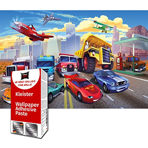 GREAT ART Fototapete Comic Autorennen 210 x 140 cm – Kinderzimmer Cars Abenteuer Feuerwehr Sportwagen Auto Cabrio Jugendtapete Wanddeko Dekoration – 5 Teile Tapete inklusive Kleister