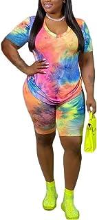 Plus Size Two Piece Outfits for Women - Summer Oversized T Shirts Top + Bodycom Short Tie Dye Jogging Suit Set