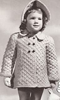 Vintage Crochet & Knitting Pattern to make - Toddler Knit Coat / Crochet Poke Bonnet. NOT a finished item, this is a pattern and/or instructions to make the item only.