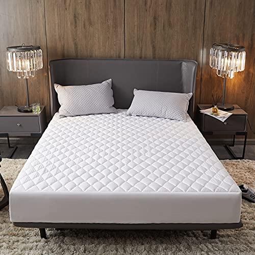 N\B Protector de colchón acolchado impermeable de 30 cm, color sólido, funda de cama gruesa, microfibra hipoalergénica y silenciosa (blanco, 180 x 200 cm)