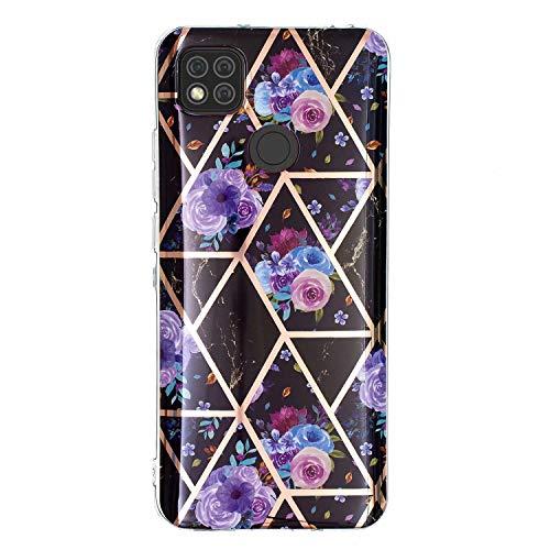 Miagon Marmor Hülle für Xiaomi Redmi 9C,Dünn Weich Silikon Flexible Handyhülle Schutzhülle Galvanisiert Marble Bumper Handytasche Zurück Cover Gummi,Blau Blume
