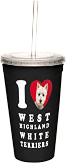 Tree-Free Greetings I Heart West Highland White Terriers Artful Traveler Double-Walled Cool Cup with Reusable Straw, 16-Ounce