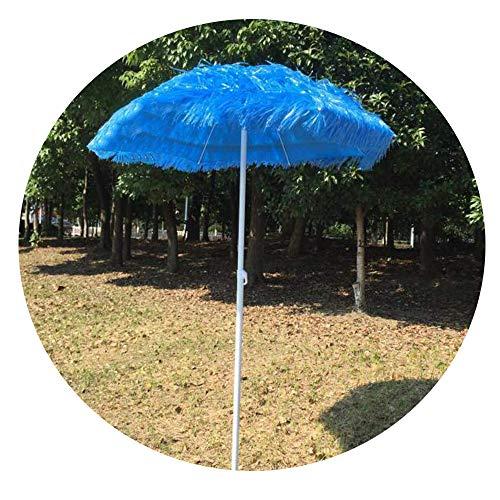 Parasol LWMQ De Jardin Plein Air en Paille Tiki Hauteur Réglable 120-240 Cm, Pliable Ronde Portable (Bleu)