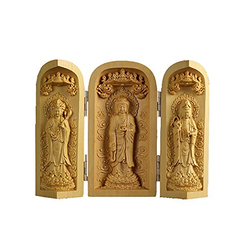 WJFJYP Buddha Statue Wood Carving Buddha Statue Sankai Buddha Mini Buddha Supreme Amida Nyorai Kannon Shrine Mamoru Honjo Figurine Pray Evil Era 12