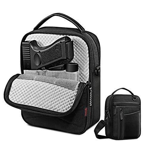 FINPAC Pistol Bag Carry Gun Holster, Tactical Handgun Shoulder Bag Padded Military Gun Ammo Accessories Pouch Shooting Range Duffle Bag, Black