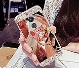 Kompatibel mit Huawei Honor 6A Hülle Schutzhülle Hülle,[Bär Ständer] Glänzend Glitzer Strass Diamant Überzug Spiegel TPU Hülle Tasche Silikon Handyhülle Schutzhülle für Huawei Honor 6A,Rose Gold