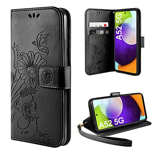 ivencase Handyhülle Kompatibel mit Samsung Galaxy A52 5G Hülle Flip Lederhülle, Handyhülle Book Hülle PU Leder Tasche Hülle & Magnet Kartenfach Schutzhülle - Schwarz