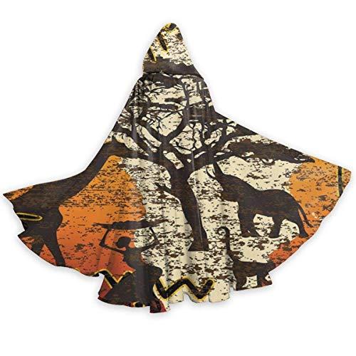 Disfraz Halloween Animales Africanos Safari Antiguo tnico Bohemio Navidad Fiesta Disfraces Interesante Vampiro Capucha Capa Impresin HD con Capucha para Adultos Mujer 150X40Cm
