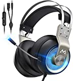 Mpow Pro Gaming Headset (2019 All-Platform Edition), with Mic, 50mm Speaker Driver, 3D Surround Sound, in-Line Control, LED Light, PC PS4 Gaming Headset, Nintendo Switch 64 3.5mm Gaming Headphones.