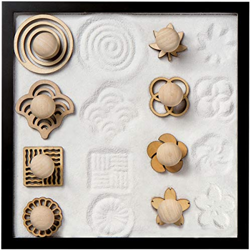 COCORO Sand Stamps for Mini Zen Garden Patterns Include Swirl, Ocean Waves, Parallel Crosses, Rings,...