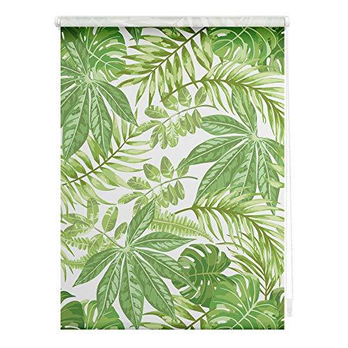 Lichtblick KRT.045.150.397 Rollo Klemmfix, ohne Bohren, Blickdicht, Blätter - Grün 45 cm x 150 cm (B x L)