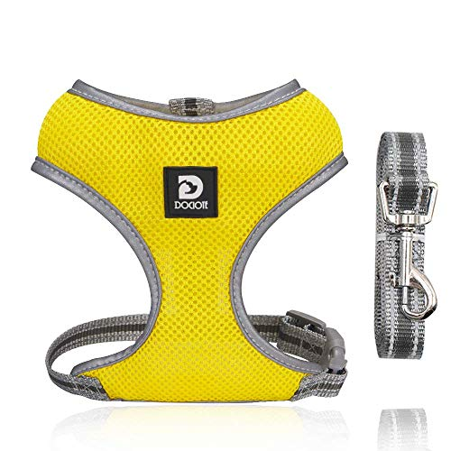 Puppy Harness and Leash Set - Dog Vest Harness for Small Dogs Medium Dogs- Adjustable Reflective Step in Harness for Dogs - Soft Mesh Comfort Fit No Pull No Choke (S, Yellow)