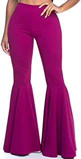 Women High Waisted Flare Pants Solid Color Fashion Pleated Bell Bottoms(7 Colors)