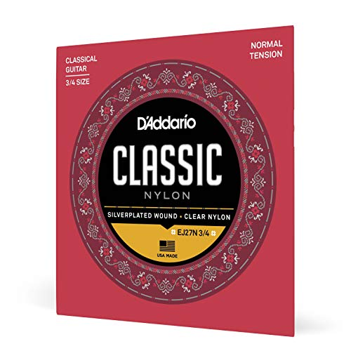 D'Addario Nylonsaiten für Konzertgitarre | BEGINNER SET MADE IN USA | EJ27N 3/4 | Nylon | Normal Tension | für 3/4 Gitarren