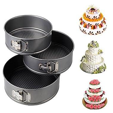 iPstyle 3pcs Nonstick Springform Cake Pan Cheesecake Pan Leakproof Cake Pan Bakeware Loose Base Cake Baking Tin Interlocking Bakeware (3pcs - 24/26/28cm CM (Round))