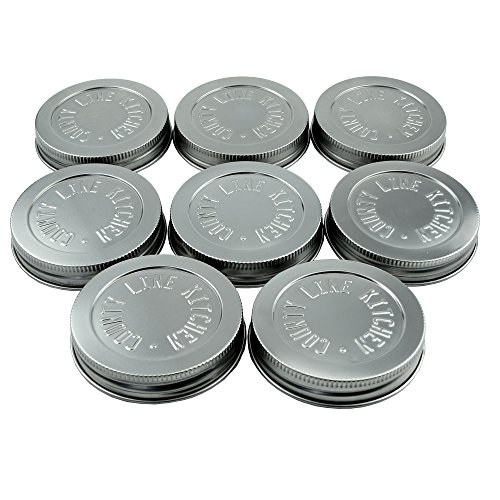 County Line Kitchen - Heavy Duty Stainless Steel Mason Jar Lids with Leak-Proof, Easy Opening Seals - Wide Mouth, 8 Pack