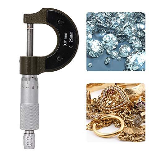Salmue Micrómetro preciso, portátil 0-25 mm Micrómetro Externo Externo Herramienta de medición precisa con Caja Accesorio de joyería + Herramientas de medición de joyería para maquinistas y joyeros