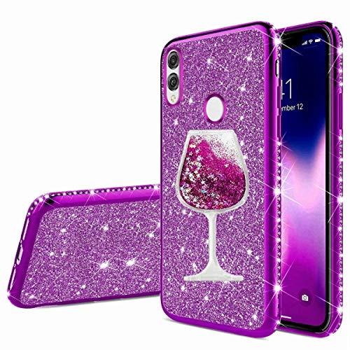 Nadoli Glitzer Hülle für Huawei P Smart 2019,Kristall Diamant Strass Bumper mit 3D Fließend Flüssig Treibsand Weinglas Silikon Handyhülle Frauen für Huawei Honor 10 Lite