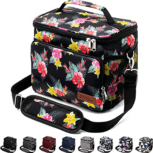 Insulated Lunch Bag for Women/Men - Reusable Lunch Box for Office Work School Picnic Beach - Leakproof Cooler Tote Bag Freezable Lunch Bag with Adjustable Shoulder Strap for Kids/Adult - Flamingo