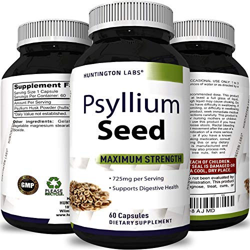 Huntington Labs' Best Psyllium Husk Supplement - Natural Laxative Psyllium Husk Fiber Powder Capsules - 725 mg per Capsule - Bulking Fiber For Weight Loss - Lowers Cholesterol - Healthy Digestion
