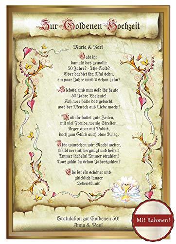 Die Staffelei Goldene Hochzeit Geschenk-Karte-Urkunde inklusive Gold-Rahmen, Goldhochzeit, Zeichnung mit humorvollem Gedicht, A4 Bild-Präsent zum 50. Ehe-Jubiläum, persönlich durch Wunschtext