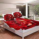 Loussiesd Juego de sábanas de rosas 3D con estampado floral de rosas para niños y niñas, juego de cama de diseño hippie, sábana bajera ajustable para dormitorio, colección de 3 piezas de tamaño doble