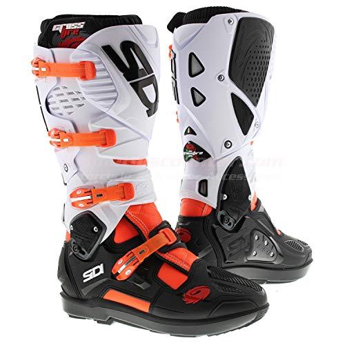 Sidi Unisex-Erwachsene Crossfire 3 SRS Fluor-Black White 41 Motorradstiefel, Orange-Schwarz-Weiß, Einheitsgröße