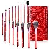AMMIY Brochas de Maquillaje 16 Piezas con Bolsa Rodillo PU, Brochas Maquillaje Cerdas de Fibra Sintética Suaves y sin Crueldad para (Rojo)