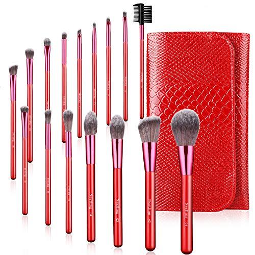 AMMIY Brochas de Maquillaje 16 Piezas con Bolsa Rodillo PU, Brochas Maquillaje...