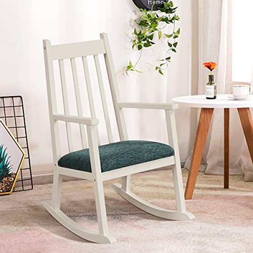 GYMAX Kids Rocking Chair, Wooden Armchair with Soft Cushion, Toddler Rocker Chairs for Nursery Bedroom Living Room, Suitable for 3-10 Years Old (White)
