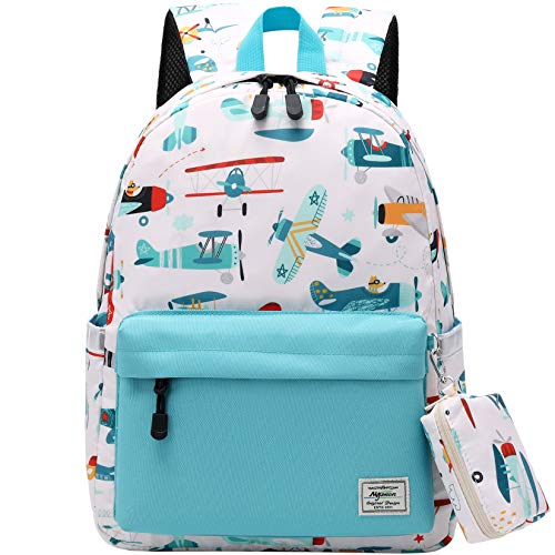 El-fmly Preschool Backpack with Matching Coin Purse, Little Kid Cute Pattern Bookbag for Boys and Girls with Chest Strap (Airplane, Lightblue)