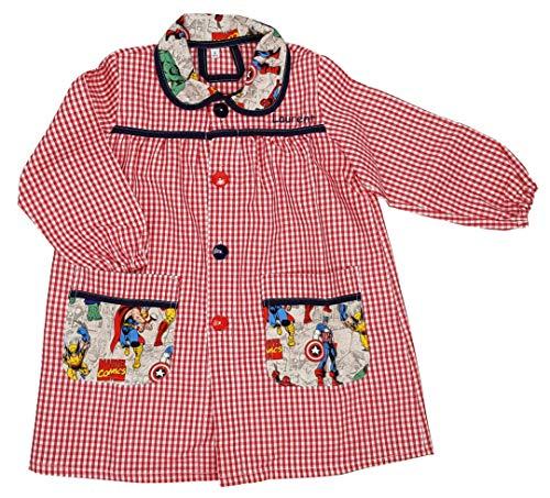 Mandilón, babi o Bata Escolar para Colegio o Guardería Bordado con el Nombre del Niño/Niña. Modelo Marvel Tallas Disponibles. (Rojo/Marino, 3-4 Años)