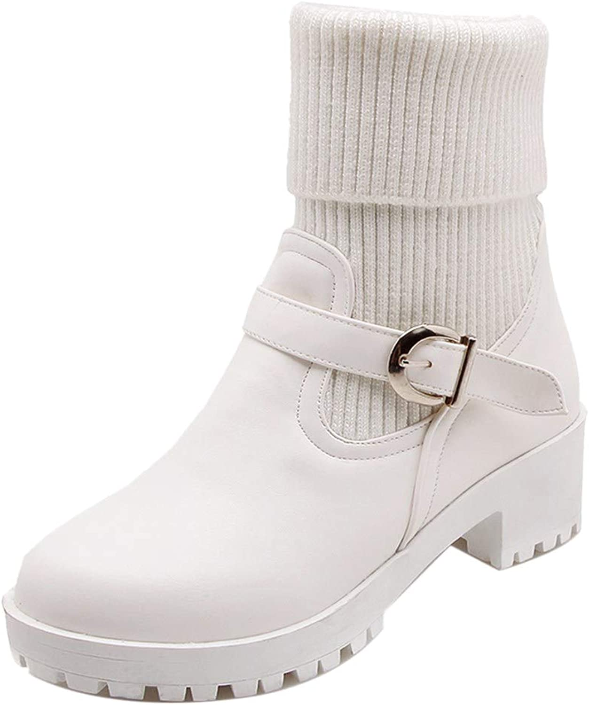 CularAcci Women Block Heel Autumn Short Boots