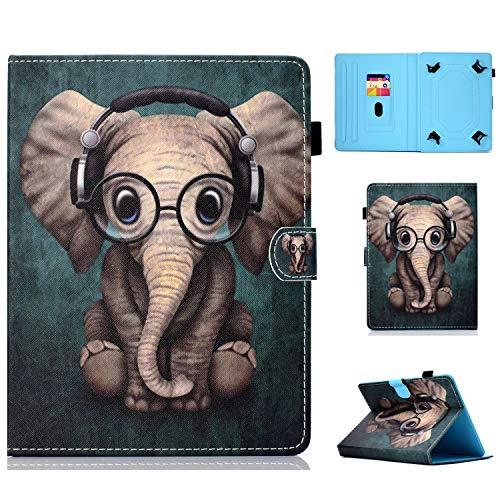 "HereMore Funda Tablet de 9-10.1"", Case Carcasa Protectora de Cuero para Galaxy Tab A6 10.1, Huawei MediaPad T3/T5 10/M5 Lite 10 LNMBBS 10.1, BQ Aquaris M10,Yuntab K17, Lenovo TB-X103F, Elefante"