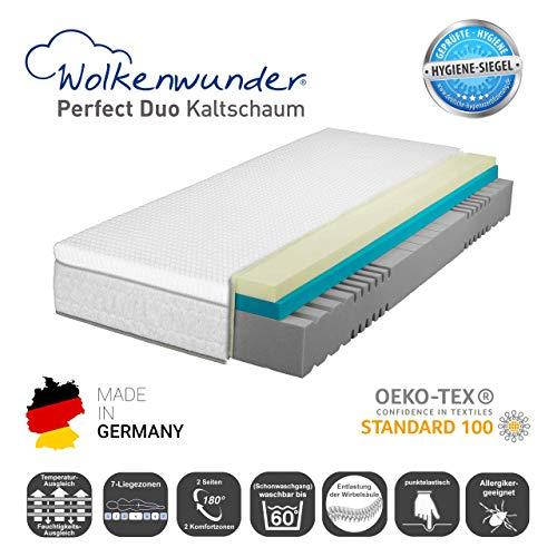 Wolkenwunder Perfect Duo KS 7-Zonen-Kaltschaummatratze I integrierter Wende-Topper mit Spezial-Komi-Schaum I Bezug waschbar I Made in Germany (160 x 200 cm, H3/H3 Partnermatratze)