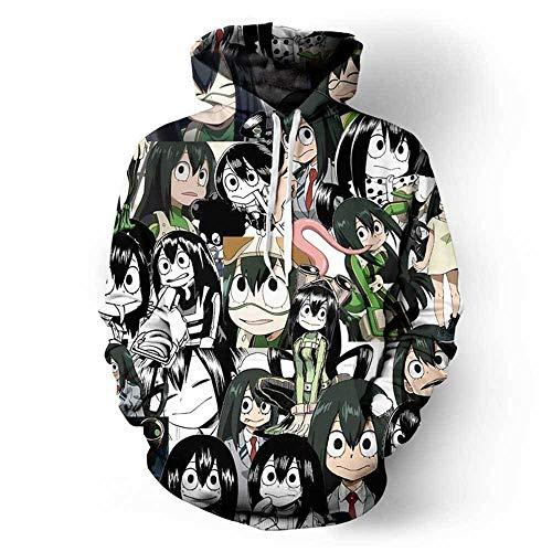 Qqswxz Anime My Hero Academia Himeko Toga Jk Disfraz Cosplay Print 3D Boku No Hero Academia Divertida Sudadera con Capucha Hombre Mujer Sudadera Informal 9_5XL