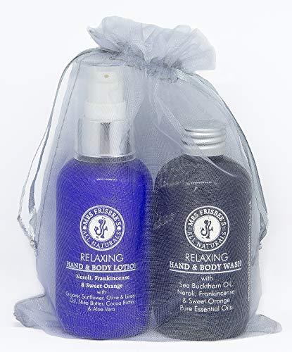 Relajante mano y cuidado del cuerpo bolsa de regalo con neroli, incienso y naranja dulce (2x...