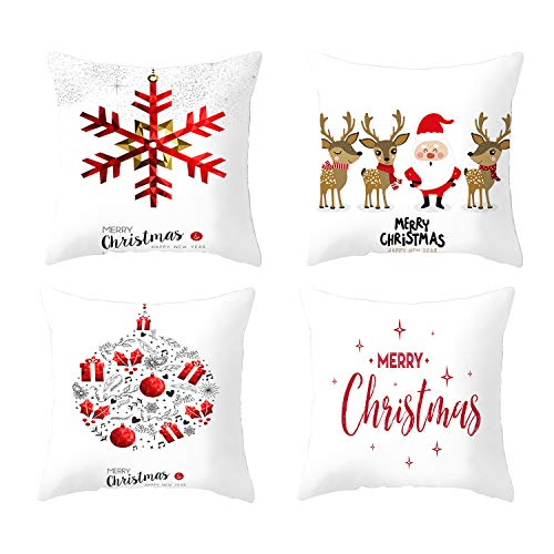 4 Pcs Christmas Pillow Covers, 18 X 18 Inch Pillow Case Square Cushion Covers, Decorative Throw Pillow Covers for Home, Car, Sofa, Couch, Bed (Pattern D)