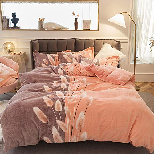 Shinon teddy bear bedding single bed,Winter thick double-sided plush flannel plus down sheet duvet cover extra large bedding set-P_1.8m bed (4 pieces)