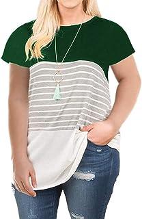 VISLILY Women's Plus Size T-Shirt Short Sleeve/Long Sleeve Striped Tee Shirt Tunics XL-4XL
