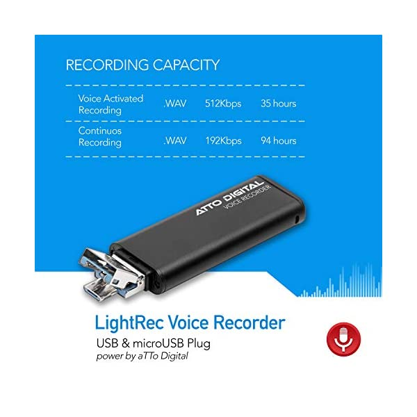 Mini Voice Activated Recorder – Slim USB Flash Drive   26 Hours Battery   8GB - 94 Hours Capacity   512 Kbps Audio Quality   Easy to Use USB Memory Stick Sound Recorder   lightREC by aTTo Digital 6