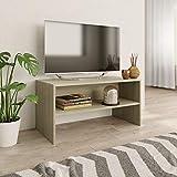 vidaXL Mueble TV Estante Mesa Baja Televisión Aparador Televisor Módulo Diseño Simple Compartimento Comedor Salón Cuarto Aglomerado Color Roble Sonoma