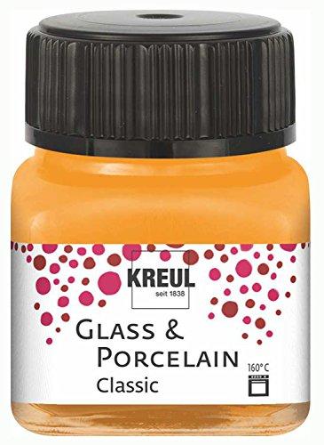 Kreul 16203 - Glass & Porcelain Classic orange, im 20 ml Glas, brillante Glas- und Porzellanmalfarbe auf Wasserbasis, schnelltrocknend, deckend