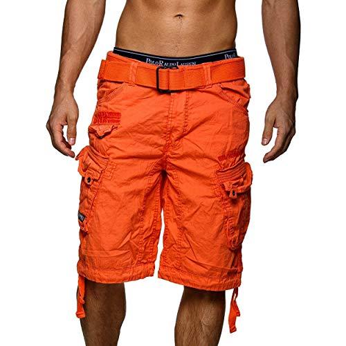 Geographical Norway Panoramique Men - Bermuda Homme Casual Coton - Short Hommes Sport Cargo - Bermudas Respirant Chino - Shorts Court A Ceinture - Coupe Normale Confortable (Orange L)