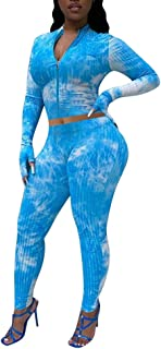Yoga Outfits for Women 2 Piece Set - Tie Dye Sweatsuits Long Sleeve Zip Up Crop Top and Sweatpants Sportswear Matching Sets