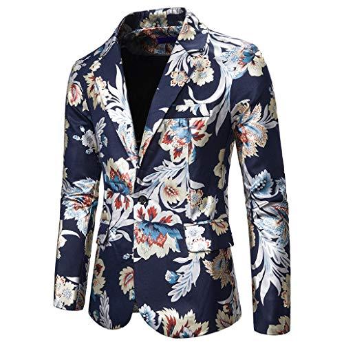 MarryoU Herren Casual Sakkos Modern Anzugjacke Print Sakko Freizeit Anzug Slim Fit bequem Blazer