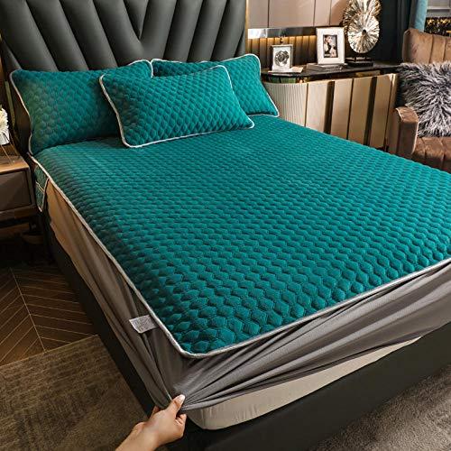 Bolsillo Profundo Elastic Sabana adjustable,Protector de colchón de franela cálido de invierno, sábana antideslizante de color sólido para dormitorio de adultos cama doble individual H 120 * 200cm
