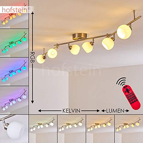 LED Deckenleuchte Motala, dimmbare Deckenlampe aus Metall/Glas in Nickel-matt, 6-flammig, 21 Watt (insgesamt), 1410 Lumen (insgesamt), Lichtfarbe 2700-5000 Kelvin, RGB Farbwechsler u. Fernbedienung