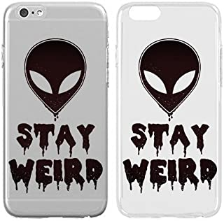 Compatible for iPhone 8 - Cream Cookies - Ultra Slim Hard Plastic Cover Case - Stay Weird - Alien - Aliens - Alien Head - Cute - Alien Quote